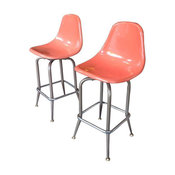 Eames Style Fiberglass Counter Stools - A Pair - $1,200 Est. Retail - $500 on Ch