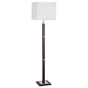 Waverley Contemporary Floor Lamp, Brown Wood and Satin Silver With Shade