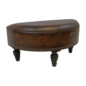 Faux Leather Half Moon Ottoman,Saddle Brown