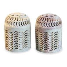 Handmade Nautilus  Soapstone jars (pair) - India