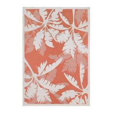 """Couristan Monaco Coastal Floral Indoor/Outdoor Area Rug, Ivory-Orange, 5'3""""x7'6"""""""