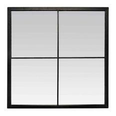 Marcel Black Window Mirror, 60x60 cm