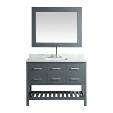 "London 48"" Single Sink Vanity Set, Gray with White Carrera Marble Top"
