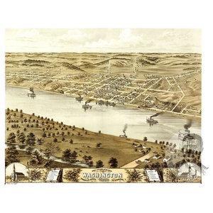 1869 Wyandotte Kansas Vintage Old Panoramic City Map 24x36