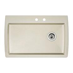 "Blanco 440196-2 22""x33.5"" Granite Single Dual-Mount Kitchen Sink, Biscuit"