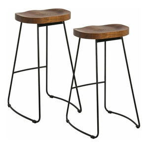 Rustic Set of 2 Pub Bar Stools With Black Finished Frame and Solid Wood Seat