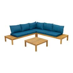 5-Seater V Shaped Acacia Sectional Sofa Set With Cushions, Teak/Teal
