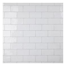 """SomerTile Chester Ceramic Wall Tile, 3"""" x 6"""", White"""