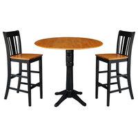 "42"" Round Pedestal Bar Height Table, 2 Bar Height Stools, Black/Cherry"