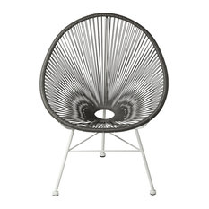 Acapulco Indoor/Outdoor Weave Lounge Chair, Gray Weave on White Frame