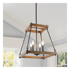 4-Light Island Pendant Wood Faux Farmhouse Chandelier