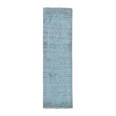"Broken Persian Design Hand-Knotted Wool and Silk Runner Rug, 2'6""x10'0"""