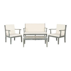 Safavieh Mallorca Outdoor Living Set, 4-Piece, Ash Grey and Ecru