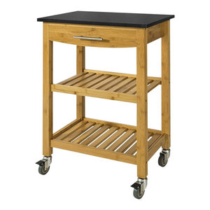 Modern Stylish Trolley Cart, Natural Bamboo Wood With Drawer and Granite Top
