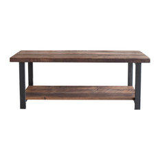 Reclaimed Wood Rustic Coffee Table With Lower Shelf And Steel Frame Legs