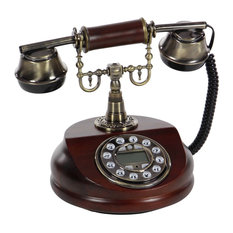 "GwG Outlet Wooden Metal Antique Functional Telephone 7""x8"""