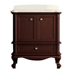 "Madera Floor Mount 30"" 3-Hole Vanity, Teak, Quartz White"