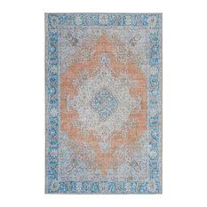"""Kaleen Indoor-Outdoor Distressed Boho Patio Rug, Copper, 5'x7'6"""""""