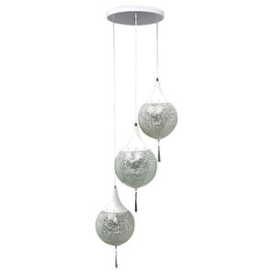 3-Light Frosted Glass Globe Chandelier
