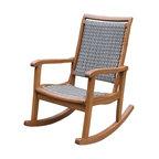 Salinas Resin Wicker and Eucalyptus Rocker Chair, Gray