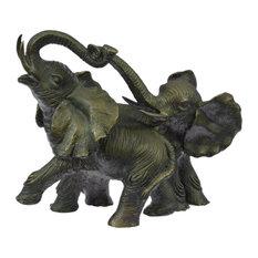 Elephant Jungle African Room Feng Shui Decor Art Bronze Marble Sculpture Statue