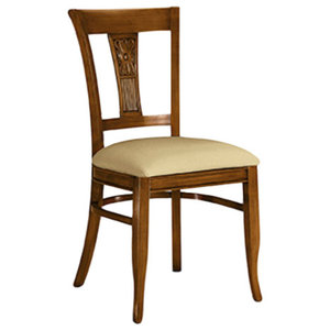 Modern Padded Dining Chair With Walnut Stain