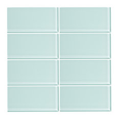 "3""x6"" Glass Subway Tiles, Set of 8, Spring Blue"