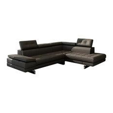 Divani Casa Evangeline Modern Sectional Sofa Dark Grey Bonded Leather - Sectional Sofas  sc 1 st  Houzz : grey leather sofa sectional - Sectionals, Sofas & Couches