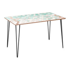 Brixton Hairpin Dining Table - Mint & Copper Deco