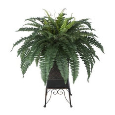 Artificial Fern in Brown Small Planter Stand