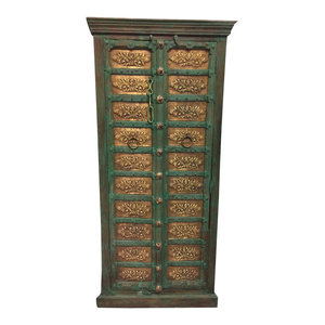 Mogul Interior - Consigned Antique Armoire Brass Carved Green Patina Storage Eclectic Cabinet - Armoires And Wardrobes
