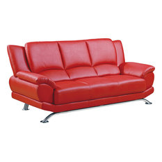 Global Furniture Usa Bonded Leather And Match Sofa With Chrome Legs Red