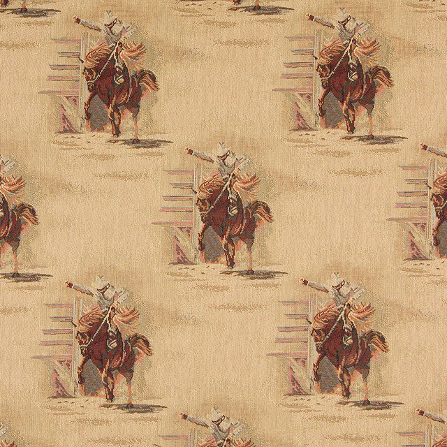 Rodeo Cowboys And Horses Themed Tapestry Upholstery Fabric By The Yard