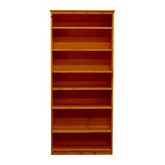 York Bookcase, 11_x37x84, Pine Wood, Colonial Maple