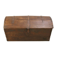 Consigned Antique 1820 French Oak Trunk  Original Iron