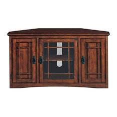 """Bowery Hill 46"""" Corner TV Stand with Storage in Oak"""