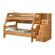 Twin Over Full Bunk Bed With Stairway Chest Cinnamon, 3544720-4754