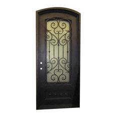 """Vatican 42""""x96"""", Iron Door, Sandblast Glass, Left Hand Inswing"""
