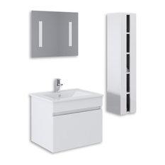 "Kokss Wall Mount High Gloss Vanity Set, White, 24"""