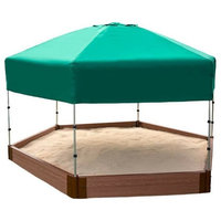 """Two Inch Series 7ft.x8ft.x5.5 """" Composite Hexagon Sandbox Kit With Canopy/Cover"""