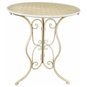 Round Dining Table, Cream Coating Finished Iron, Simple Traditional Design