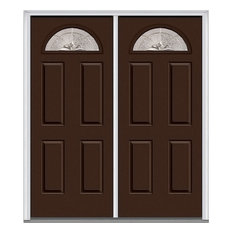 "Verona Home Design - Heirloom Master 1/4 Lite 4-Panel Fiberglass Double Door 62""x81.75"" RH In-Swing - Front Doors"