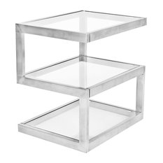 LumiSource 5S End Table Stainless Steel And Clear Glass