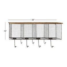 Black Iron Farmhouse Wall Hooks With Shelves, 14x32x6