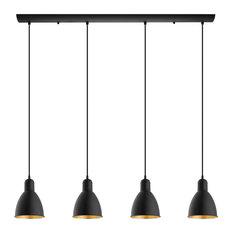 Priddy 2, 4-Light Island Light, Black With Gold Interior