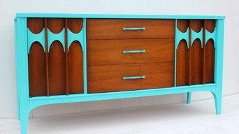Turquoise Mid Century Modern Credenza