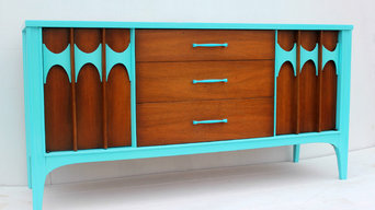 Turquoise Mid Century Modern Credenza