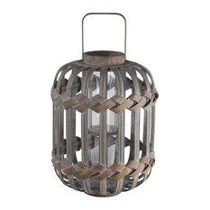 "Privilege Vintage Brown Bamboo Lantern, 11""x11""x19.5"""