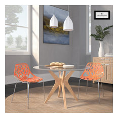 Leisuremod Modern Asbury Dining Chair With Chromed Legs, Set of 2, Orange