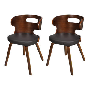 vidaXL Dining Chairs With Cut-Out Bentwood Backrest, Set of 2